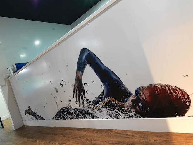 Large inspirational interior image of swimmer