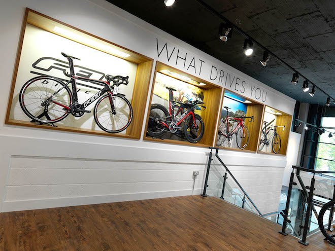 Bike showcase as part of the interior retail design
