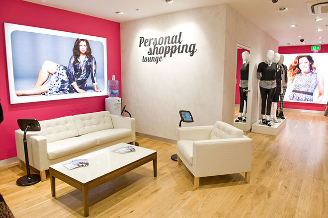 The personal shoppoing area of the Simply Be store