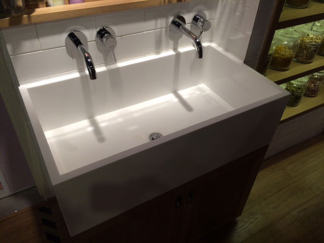 A Belfast-style sink complements the design