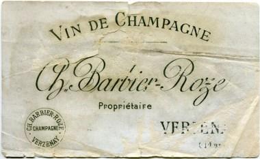 Champagne Barbier-Roze Etiquette 1900
