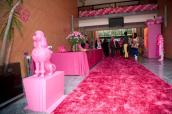Tapete rosa , estátua de cachorro - basicamente: rosa! |Foto: Museu Encantado - via Facebook
