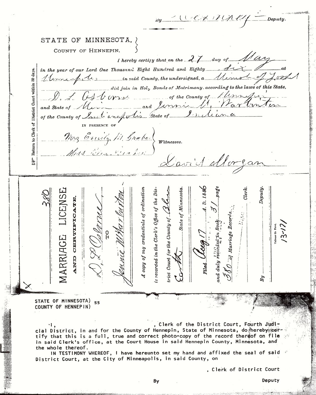 Marriage License of David and Jennie Osborne