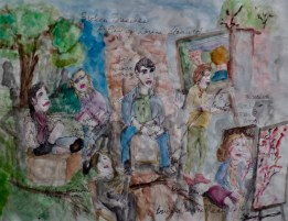 Reading of Ms. Stanwick's new play, Broken Branches, original watercolor, $120