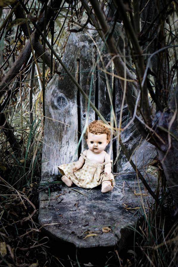 Vintage doll in the garden
