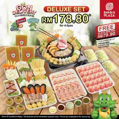 GonDelivery Deluxe Set Free Black BBQ Pan