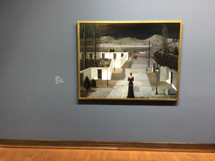 PAUL DELVAUX, LANDSCHAFT MIT LATERNEN, 1958, Öl auf Isorel