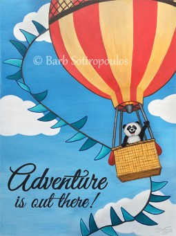 """""""Adventure""""11.81 x 15.81in, Acrylic &Ink on Illustration Board2015. All images copyright Barb Sotiropoulos. All Rights Reserved.(Private Collection)"""