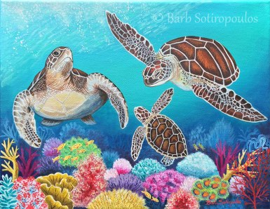 """""""Honu Ohana""""14 x 11in, Acrylic on Canvas2016. Partial photo reference credit to Clayton Plum. Used with permission. All images copyright Barb Sotiropoulos. All Rights Reserved. (Private Collection)"""