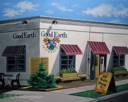 """""""Good Earth Cafe (20th Anniversary)"""" 20×16 in, Acrylic on Canvas 2011. All images copyright Barb Sotiropoulos. All Rights Reserved. (Private Collection)"""