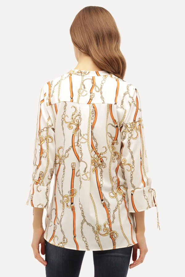 Chain Print Jersey Top with Tie Sleeves