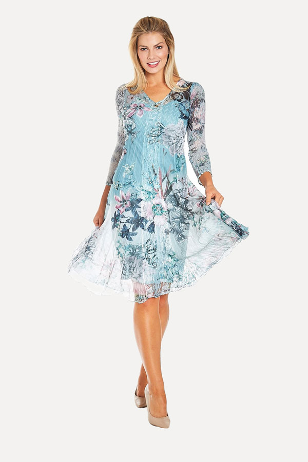 Jade Floral Plisse Dress