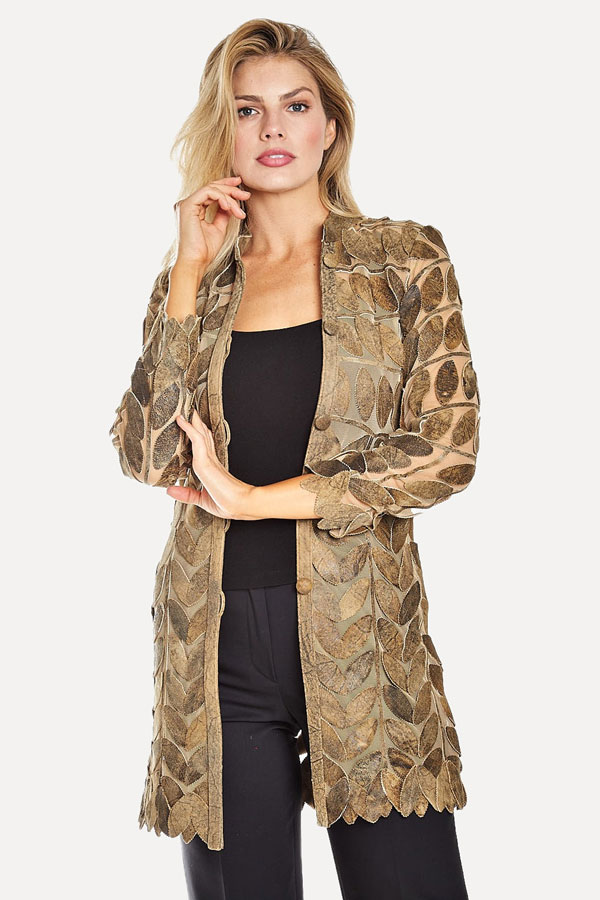 gold leaf leather jacket