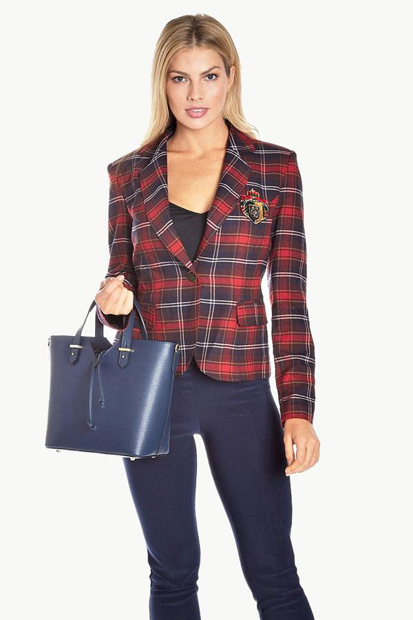 Plaid Crop Blazer with Crest