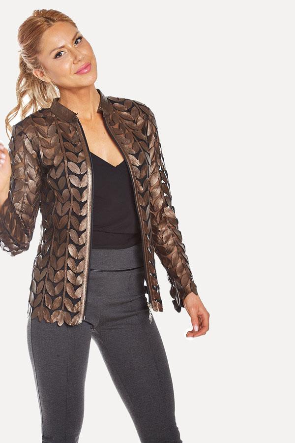 Bronze Leather Leaf Jacket