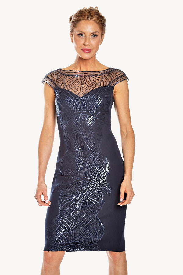 Sheer Sequined Cocktail Dress