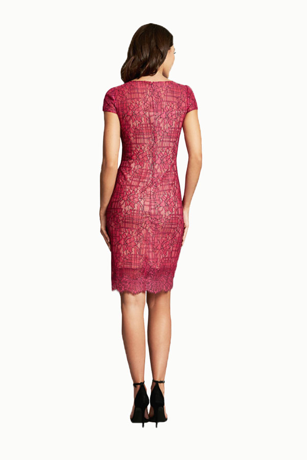 Fuchsia Corded Lace Dress