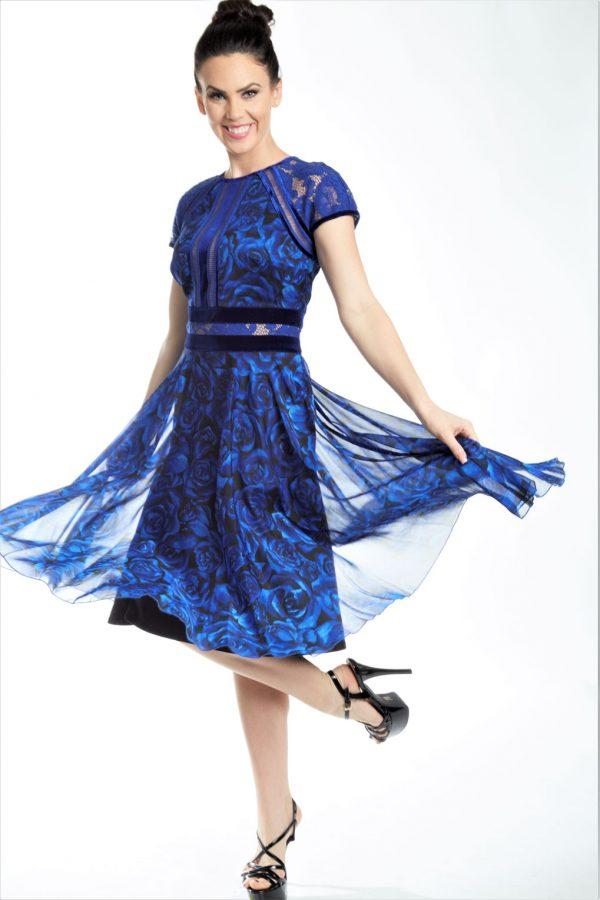 Rose Print Cap Sleeve Chiffon Dress