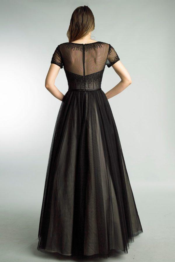 Short Sleeve Sheer Beaded Gown