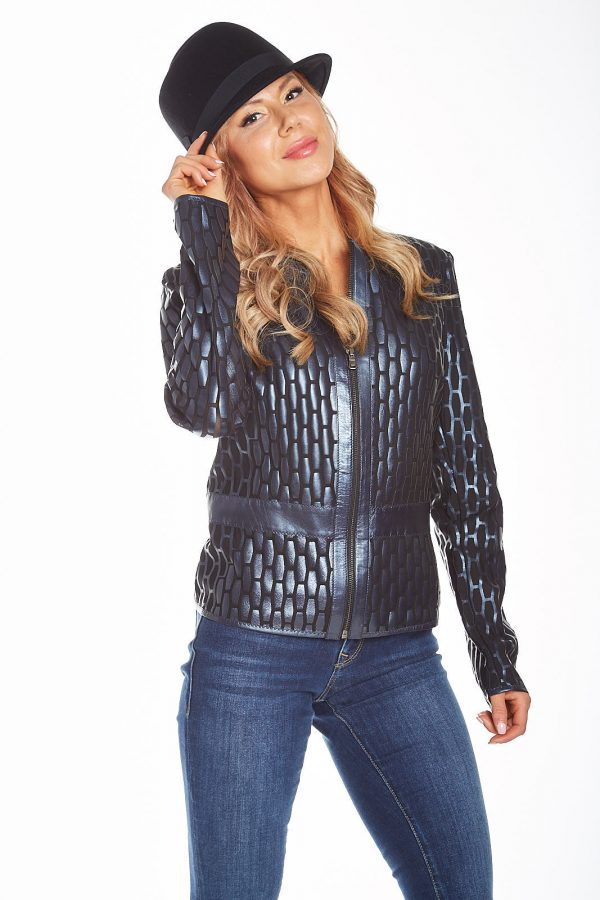 Pearlized Laser Cut Leather jacket