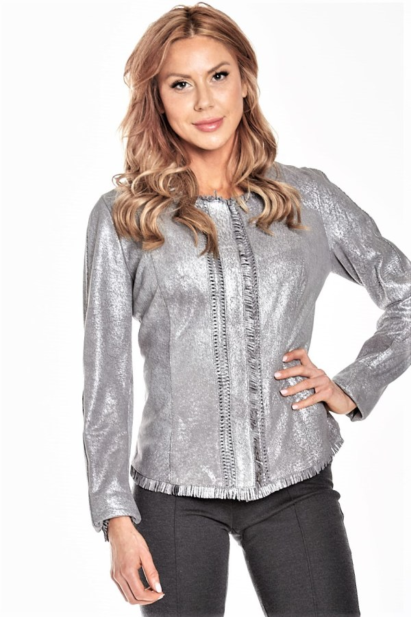 Silver Vintage Washed Leather Jacket