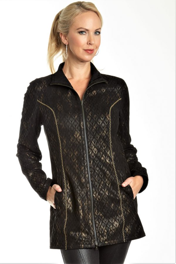 Leather Embossed Print Jacket