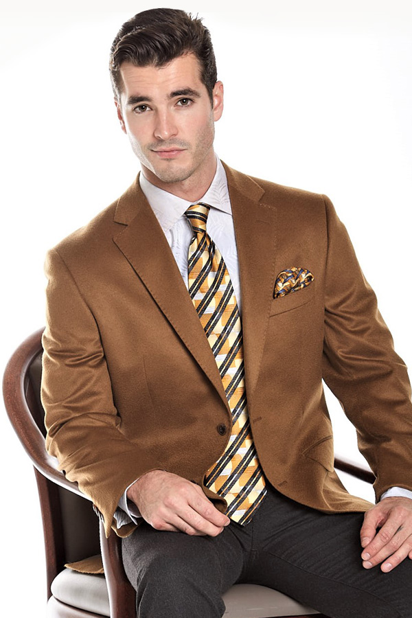 Pure Cashmere Blazer in rich darkish Camel color