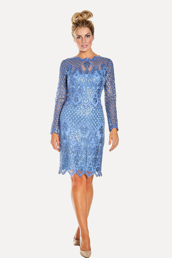 Periwinkle Sequined Cocktail Dress
