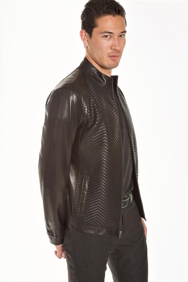 Top Quality Leather Zip Blouson-Woven Chevron front panels