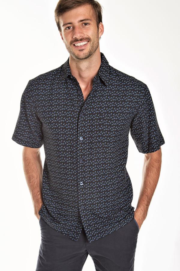 Silk Print Short Sleeve Sport Shirt