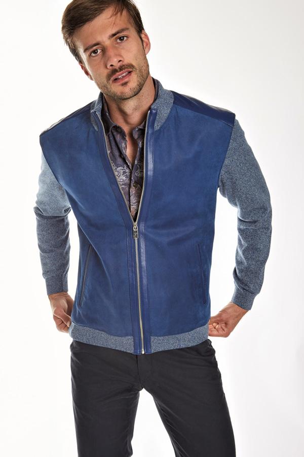 Torras Suede Zip Blouson/Leather trim