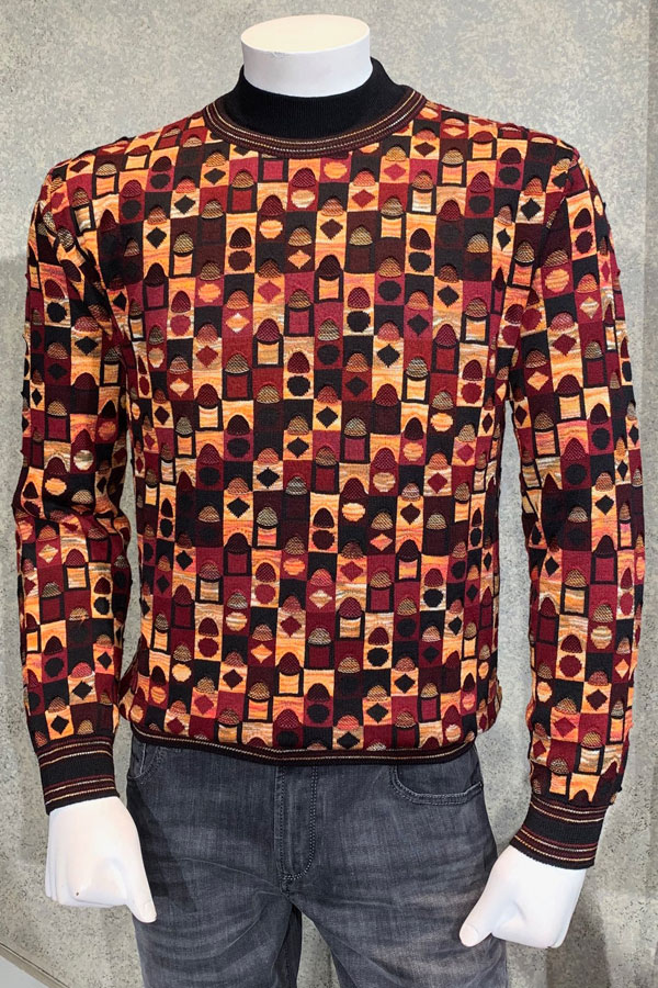 Crew Neck Sweater, Penny Check design Coogi style weaving.