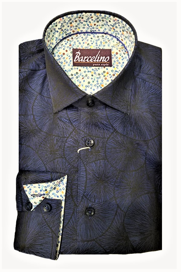 Sport Shirt in Italian Jacquard Fabric. Modern Fit.