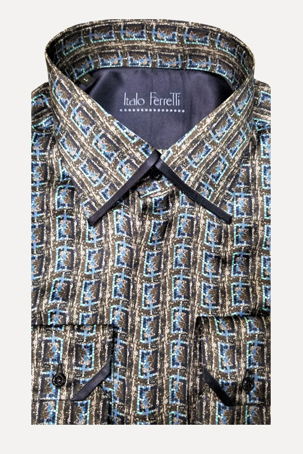 Italo Ferretti-Pure Silk Shirt Rectangular chain Design. Made in Italy.