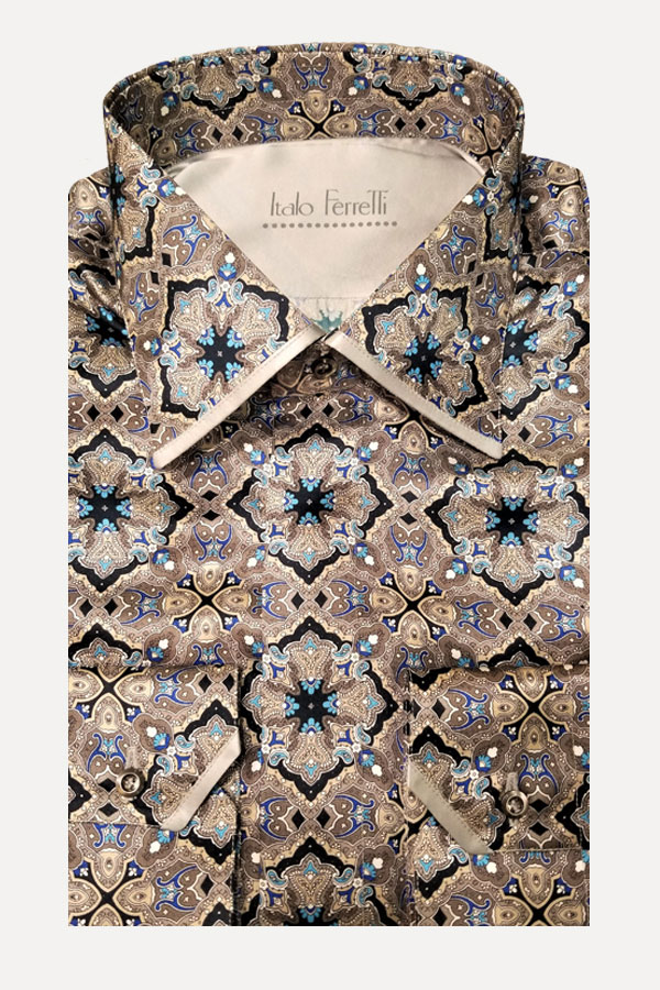 Italo Ferretti-Pure Silk Shirt in Kaleidoscope print. Made in Italy.
