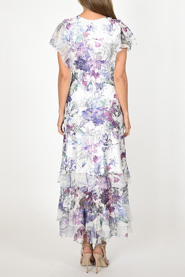 Plisse Flutter Sleeve Floral Dress