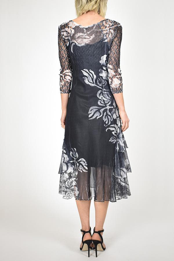 Plisse Lace / Charmeuse Floral Dress