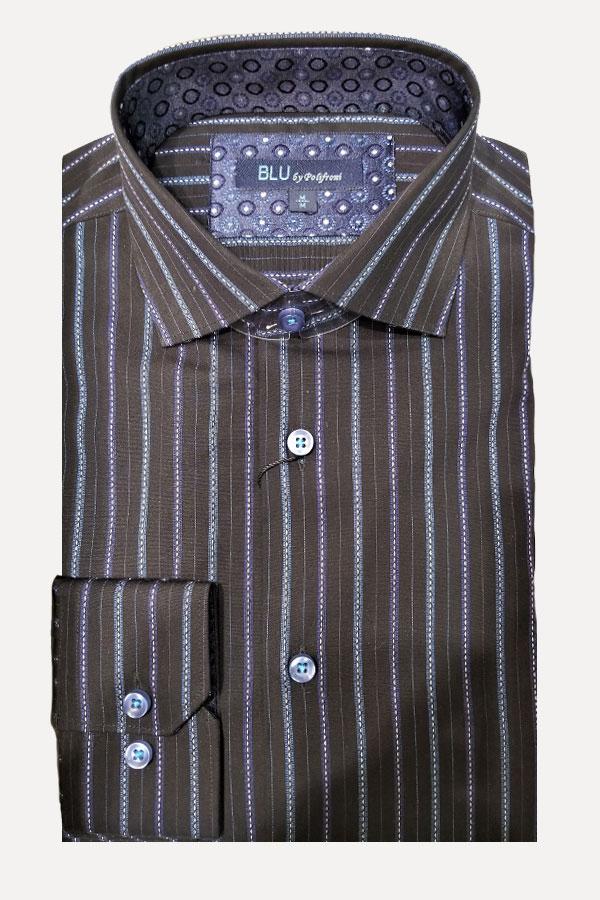 Pindot Stripe Shirt in Modern Fit. 100% Cotton.