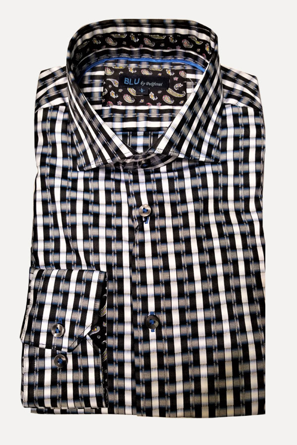 Shirt, in Woven Stripe Jacquard in 100% Cotton italian Fabric. Modern Fit.