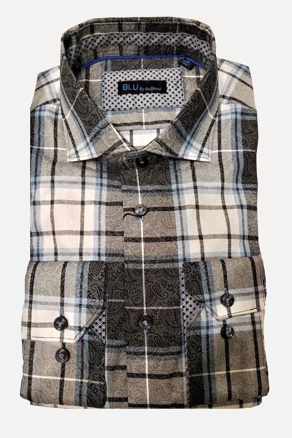 men's cotton flannel plaid paisley sports shirt