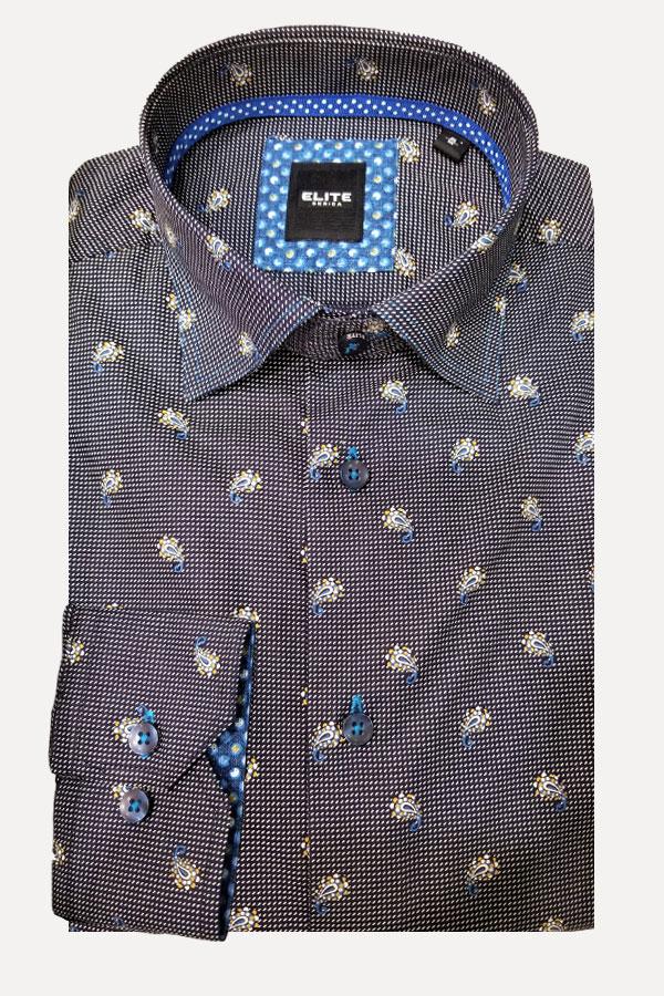 men's unique mini paisley print sports shirt by Elite