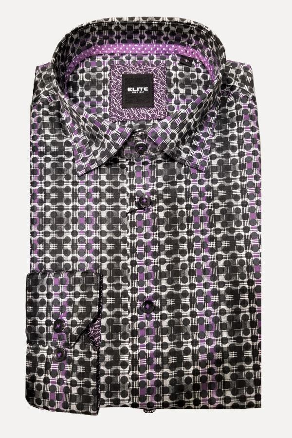 men's maxi polka dot purple stripe sports shirt by Elite