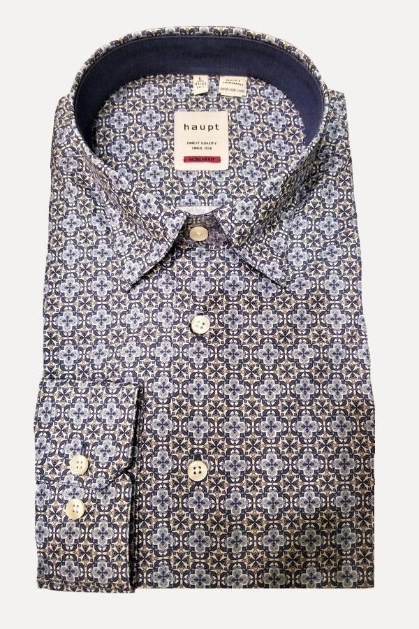 Haupt Shirt in a Hidden Button Down Model. 100% Cotton Print. Modern Fit shirt.