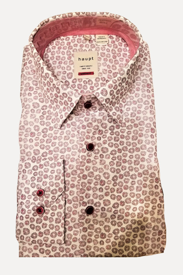 Haupt Shirt in a Hidden Button Down Model. Mini Floral Print Fabric in 100% Cotton. Modern Fit.