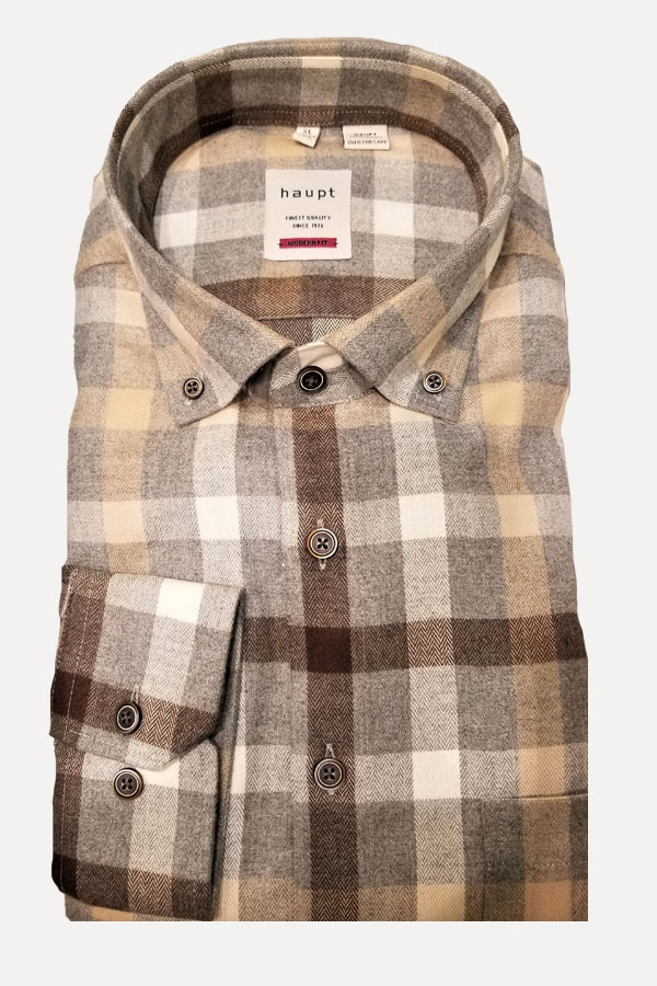 men's light gray and yellow plaid sports shirt by haupt