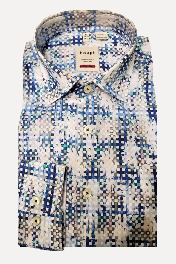 men's white and multi-print sports shirt by haupt