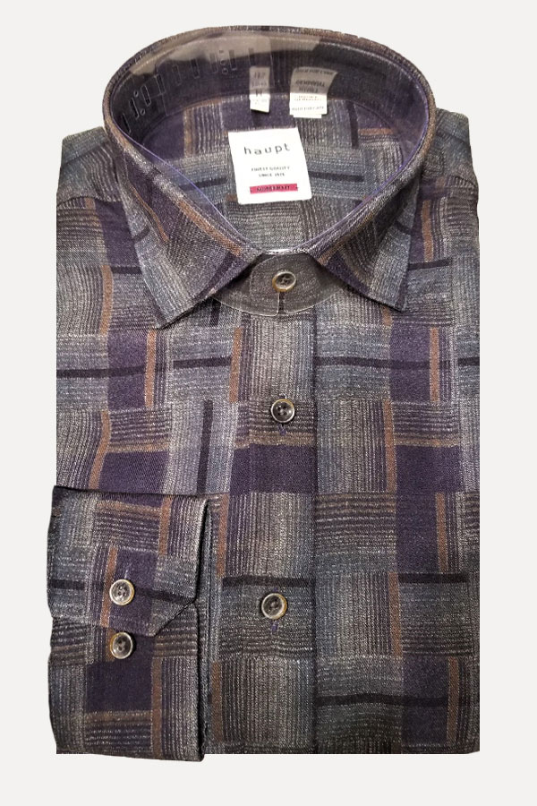 men's dark multicolor woven plaid pattern sports shirt by haupt
