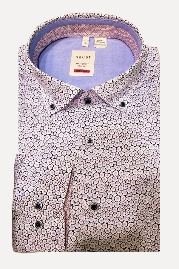 Haupt Shirt In Classic Button Down Model. 100% Cotton in a mini Liberty Floral Print. Modern Fit.