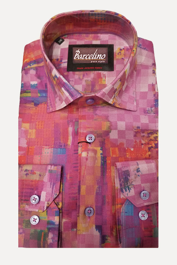 Hidden Button Down Shirt in Italian Geo Print Twill 100% Cotton Fabric