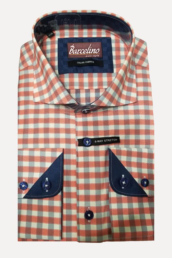 Cotton shirt in a bi-stretch fabric in check design